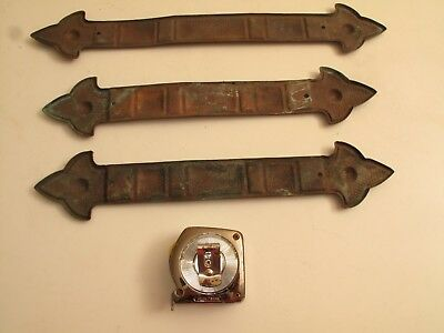Vtg Antique Arts & Crafts Hammered Copper Straps Decor Details Hardware Trunk