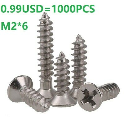 Ni Plated Phillips Flat Head Sheet Metal Selft Tapping Screws M2*6mm - 1000PCS