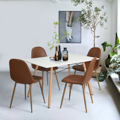 5 Pieces Modern Kitchen Dining Table and Chairs Set Wooden Dining Room Furniture