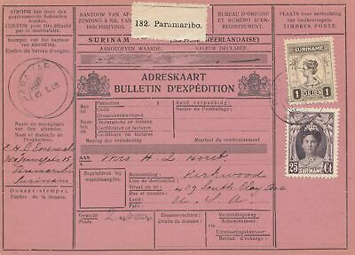 Suriname: Paramaribo parcel card 1928 to Kirkwood/California - USA