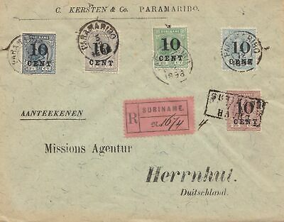 Surinam 1898_ regostered Paramaribo to Herrnhut/Germany