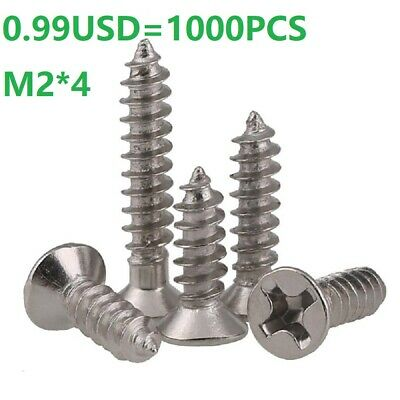 Ni Plated Phillips Flat Head Sheet Metal Selft Tapping Screws M2*4mm - 1000PCS