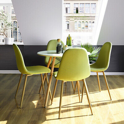 5 Pieces Dining Table and Chairs Set Mid-Century Modern Wooden Kitchen Furniture