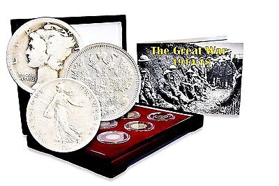 1914 WW I The Great War, A Collection of 6 Silver Coins ,Box,Story & Certificate
