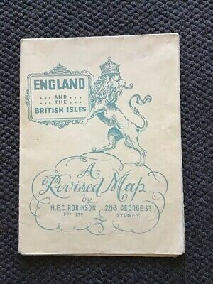 H.E.C Robinson 1940's Map Of England & The British Isles