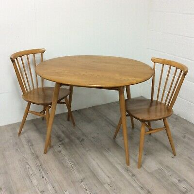 Mid Century Vintage Ercol Breakfast Table Model 396 English Elm and Beech