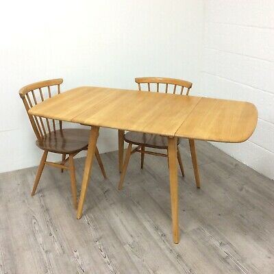 1960s Ercol Elm And Beech Windsor Model 383 Drop Leaf Kitchen Dining Table
