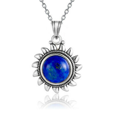Vintage 925 Silver Round Natural Lapis Lazuli Sun Pendant Necklace Wholesale
