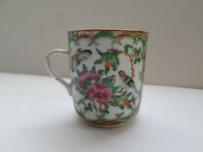 Antique Chinese Famille Rose Coffee Can Cup Oriental A/f