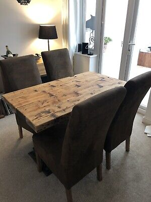 Rustic Solid Wood Dining Table With Cast Iron Legs