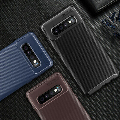 Case for Samsung Galaxy S10 S10e Plus Shockproof Silicone Gel Carbon Fibre Cover