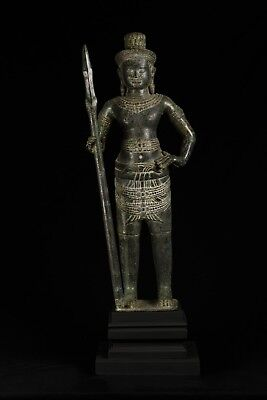 Antique Khmer Style Bronze Standing Angkor Wat Style Shiva with Spear -93cm/37""