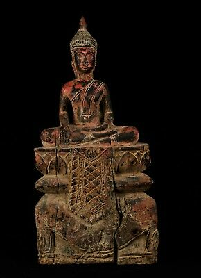 """Antique Khmer Style Seated Enlightenment Buddha Statue - 42cm/17"""""""