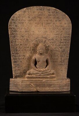 Antique Stone Stele Thai Meditation Buddha Statue - 50cm/20""