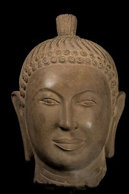 Antique 7th Century Style Khmer Stone Buddha Head Statue - 48cm/19""