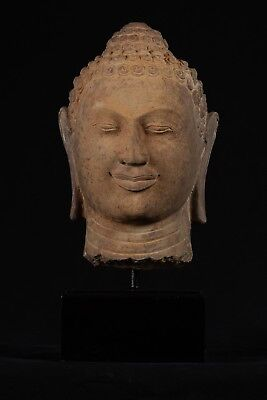 Antique 18th Century Khmer Phnom Da Stone Buddha Head Statue - 46cm/18""