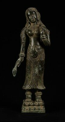 19th Century Bronze Khmer Banteay Srei style Standing Apsara or Angel - 53cm/21""