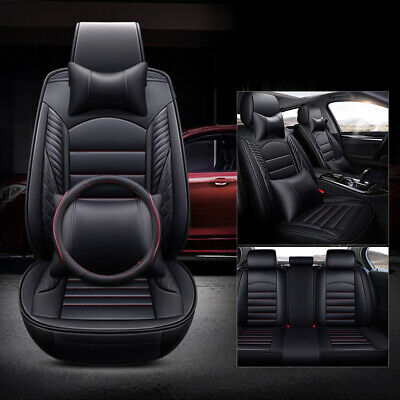 Universal 5-Seats Car Seat Covers Front Rear leather Protector Cushion Full Set