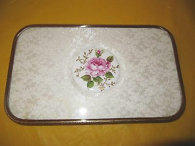 VINTAGE Dressing Table tray GILDED METAL& LACE, lace stained in two corners