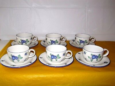 "6 ROYAL DOULTON BLUEBERRY CUPS&SAUCERS,CUP dia 3.5"", tall 2.5"", used in VGC"