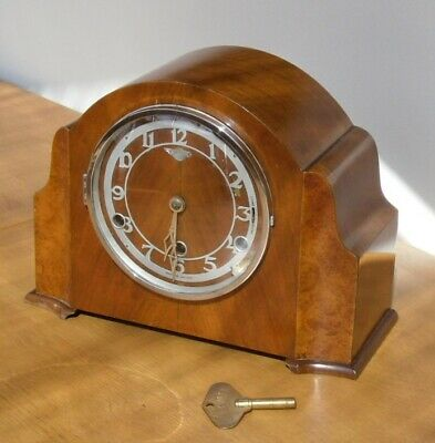 1940's Bentime/Perivale Westminster Chime Mantle Clock Walnut Veneer for Service