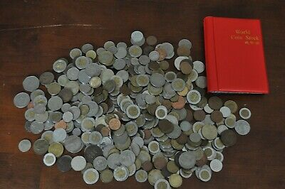 HUGE LOT UNSEARCHED FOREIGN COINS COINAGE CURRENCY AROUND THE WORLD and Album