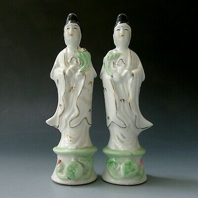 2 x vintage Japanese Chinese hand painted porcelain Geisha women figure statue