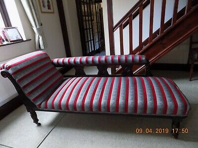 Edwardian/Victorian Chaise Lounge; reconditioned/refurbished, Fire retardant Uph