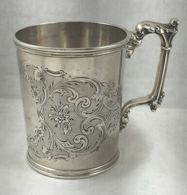 Large Gorham Coin Silver Floral Etched Cup w/Fancy Handle