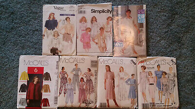 Lot 7 Vintage 1980s-90s, 2005 Sewing Patterns Sz 12-24