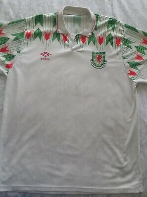 Wales Football Shirt 1990 - 1993 White Away XL Vintage