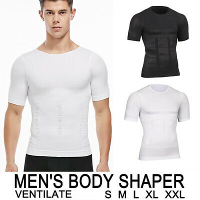 US Mens Slimming Body Shaper Underwear Vest Shirt T-shirt Tee Compression Corset