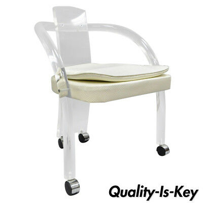 Brilliant Hill Mfg Lucite Vanity Chair Round Back Rolling Casters Mid Short Links Chair Design For Home Short Linksinfo