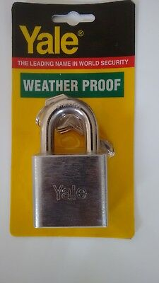 1 x YALE 50 MM PADLOCK WEATHER PROOF S /STEEL SHACKLE CHROME - FREE POSTAGE