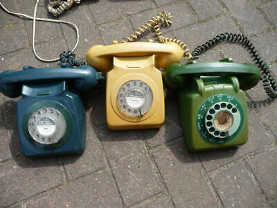 3 Vintage Coloured Telephones- Rotary Dial Bt Models (Lot-A)