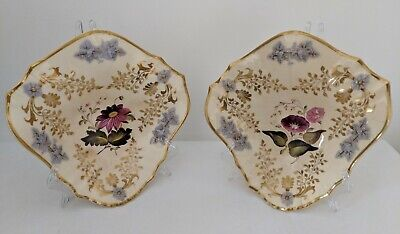 Pair Antique Floral Spray English Porcelain Shell Dishes Sprigs Grape Vines