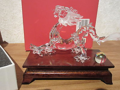 SWAROVSKI *NEW* Dragon + Socle Dragon with Wooden Stand 238202 H.8,2cm L.15cm