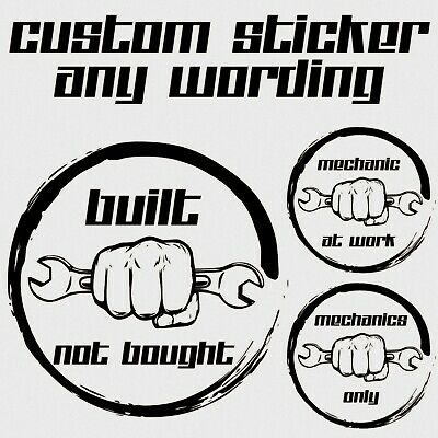 Personalised Car Sticker Built not Bought Custom Mechanic Window Sticker Decal