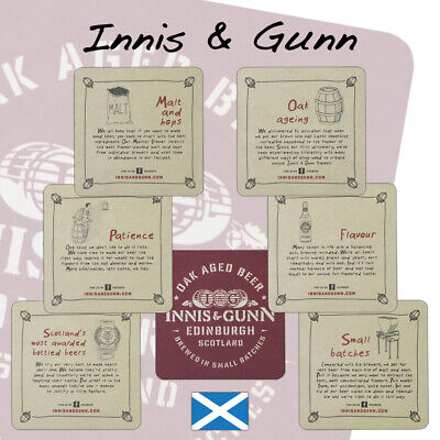 BMS37 6 Innis /& Gunn Hand-Crafted Scottish Ale Beer Mats Beermats Coasters