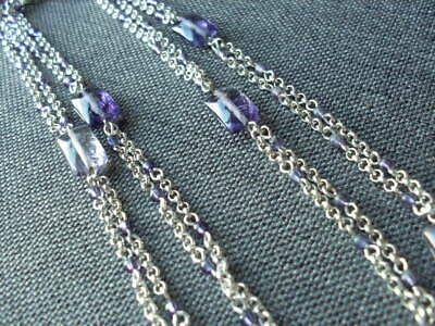 Gorgeous MONET Silver Tone Lilac Glass Beads Long Necklace