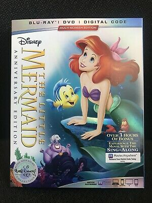 Disney The Little Mermaid Anniversary Edition (Blu-ray, DVD, Digital) Brand New