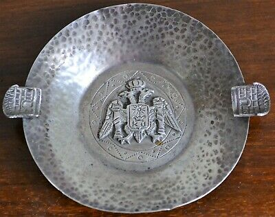 Antique 925 Solid Silver Ashtray Double Headed Eagle Motif Signed SCL Peru