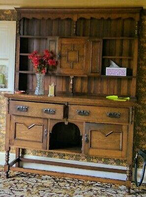 1920s Antique Oak Dresser with drawers and cutlery separator