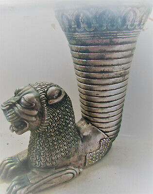 Beautiful Ancient Persian Silvered Ae Rhyton With Beast Head Rare