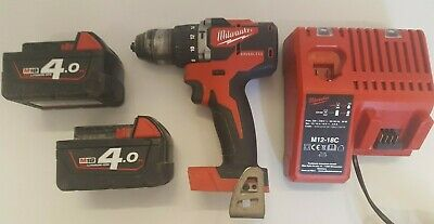Milwaukee M18 CBLPD Brushless Combi Hammer Drill - 2 × 4.0Ah Batteries - Charger