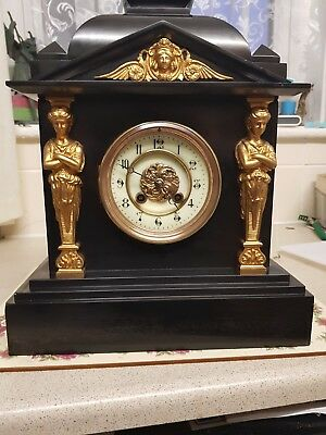 French slate clock (calcite), mechanism by Japy freres excellent working order