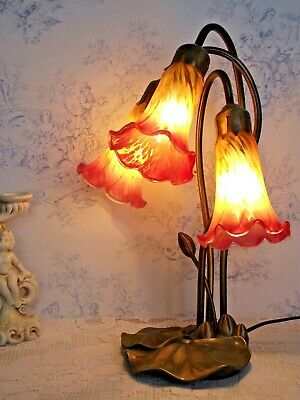 Beautiful Vintage French Lily Pad Lamp 3 Arms Pink and Orange Tulip Shades 1224