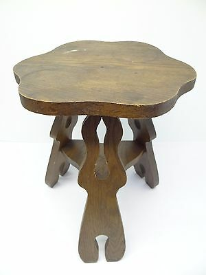 Vintage Used Old Wood Wooden Three Legged Plant Stand Footstool Seat Furniture