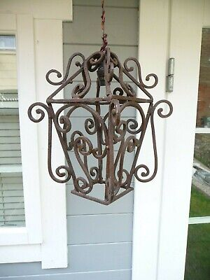 Antique 1930s Large Wrought Iron Open Lantern Light Fitting Pendent Porch Lamp