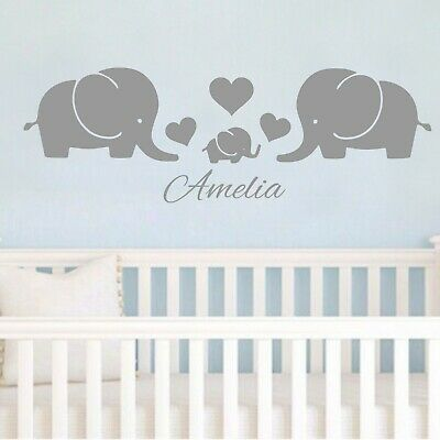 Personalised Elephant family Love heart Wall Sticker Decals Nursery Decor Kids